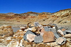 Tibet. In the Buddhist monastery on the rocks written prayers royalty free stock photos