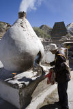 Tibet - Buddhist pilgrim in Lhasa stock image
