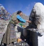 Tibet - Buddhist Pilgrim - Yambulagang Palace Stock Photography