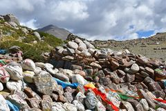 Tibet. Buddhist prayer stones with mantras and ritual drawings on the trail from the town of Dorchen around mount Kailash. Tibet. Buddhist prayer stones with royalty free stock image