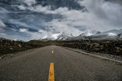 Tibet China Highway 318 road Snow mountain royalty free stock photo