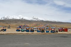 Tibet, China, June, 04, 2018. Sacred place for Buddhists on the side of the road to the pass La Chen La. China, Tibet stock image