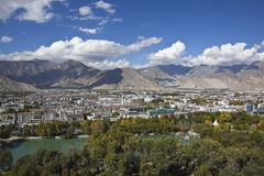 Tibet: city of Lhasa. City of Lhasa viewed from potala palace Stock Images