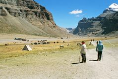 Tibet, começo do kora. foto de stock