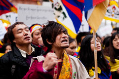 Tibet is crying for freedom. Protesting for a free Tibet, near of the Chinese embassy. Paris, March 10th, 2012 Stock Photo