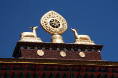 TIBET DEERS AND ETHERNAL WHEEL Royalty Free Stock Photo