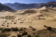 Tibet - Desert Dunes - China. Sand dunes in the desert high on the Tibetan Plateau in the Tibet Autonomous Region of China royalty free stock image
