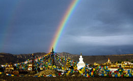Tibet double rainbow Stock Photos