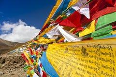 Tibet-Gebetmarkierungsfahnen Stockfotografie