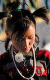 Tibet girl prayer in jokhang temple Royalty Free Stock Photos