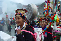 Tibet---girls at Ongkor Festival Royalty Free Stock Image