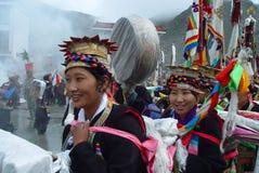 Tibet---girls at Ongkor Festival royalty free stock image