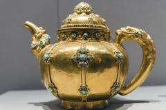 Tibet golden pot. Tibet artwork, tibet golden pot with lapis lazuli stock photography