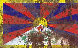Tibet grunge flag, dependent territory flag. Old flag Royalty Free Stock Photography