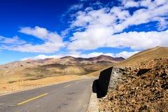 Tibet highway. Two lane highway at the Tibet Royalty Free Stock Photos