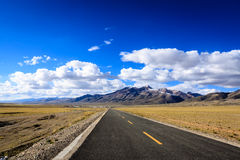 Tibet highway. Two lane highway at the Tibet Stock Photography