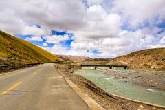 Tibet highway. Two lane highway at the Tibet Stock Photos