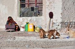 Tibet Kina, Juni, 11, 2018 Konstruktionsplats i liten by av Yakra i sommaren royaltyfri fotografi