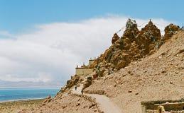 Tibet, Klooster Chiu. Stock Foto's