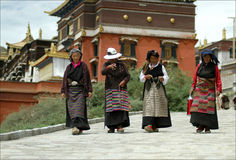 Tibet - Ladies. Four ladies walk down from a Monastery in Lhasa Royalty Free Stock Images