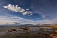 Tibet Lake Manasarovar temple Royalty Free Stock Photo