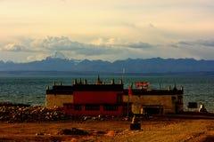 Tibet Lake Manasarovar temple Royalty Free Stock Photos