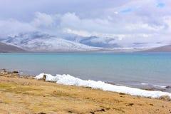 Tibet Lake Phumayumtso dark clouds Royalty Free Stock Photography