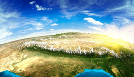 Tibet landscape from space Royalty Free Stock Images