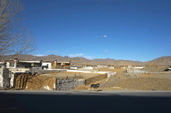 Tibet local-style dwelling houses, roads Royalty Free Stock Image