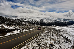Tibet Long way ahead with high mountain in front Royalty Free Stock Photos