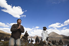 Tibet: Man Praying Royalty Free Stock Images