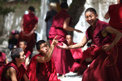 Tibet Monk. Three Tibet monks are debating stock images