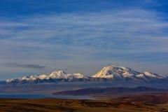 Tibet  mount naimonanyi and lake Manasarovar Stock Photos