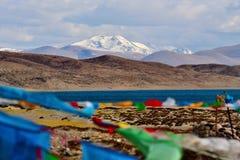 Tibet  mount naimonanyi and lake Manasarovar Stock Image