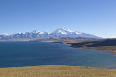 Tibet: mount naimonanyi and lake mapham yumtso Royalty Free Stock Images
