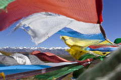 Tibet: Mountains And Prayer Flags Royalty Free Stock Photos