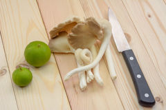 Tibet Oyster Mushroom on wooden table with knife and lemons, rea. Dy to cooking Stock Images
