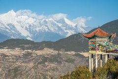 Tibet pavilion and Meili Snow Mountain in Yunnan Royalty Free Stock Photography