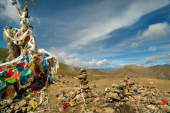 Tibet, prayer flags Royalty Free Stock Photography