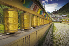 Tibet prayer wheels. Many of the Tibet prayer wheels Stock Image