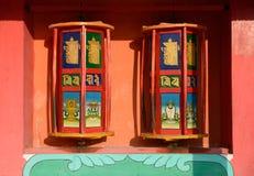 Tibet prayer wheels. Prayer wheels in Mango monastery, China Royalty Free Stock Images