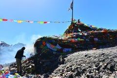 Tibet praying man Stock Image