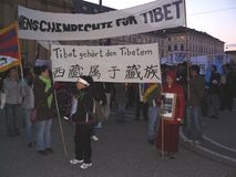 Tibet refugees protest Stock Images