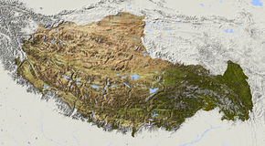 Tibet, relief map Royalty Free Stock Images