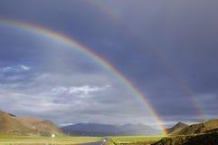 Tibet\'s scenery. Plateau double rainbow Royalty Free Stock Image