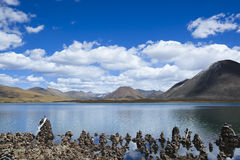 Tibet: Sacred Lake Si Jin La Cuo Royalty Free Stock Images