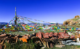 Tibet scenery. Manis and prayer. Nam Co lake, far from the Nyainqentanglha mountains. Central Tibet, China Royalty Free Stock Image