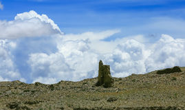 Tibet scenery. In the ruins of the southern Tibet often can see under the blue sky white clouds, very vicissitudes of life and the jet lag, in the face of the Royalty Free Stock Image