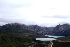 Tibet scenery- Twin Lake Royalty Free Stock Images