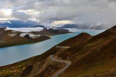 Tibet snow mountain lake Stock Photos